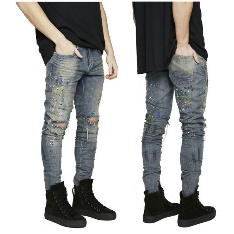 2017 Fashion New Men's Knee Big Hole Elastic Self-cultivation Small Feet Jeans Ink Red Men's Jeans