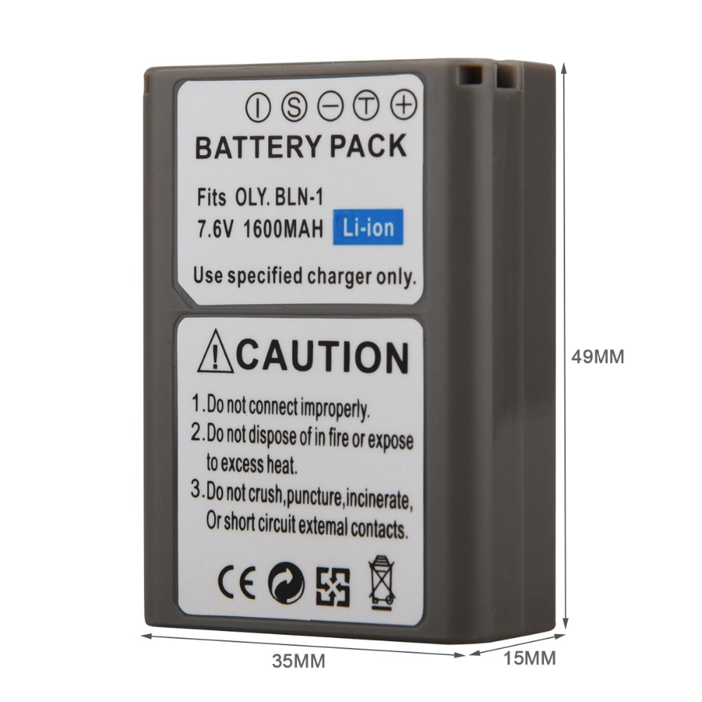 GOLDFOX 1pc 1600mAh BLN-1 PS-BLN1 Digital Camera Battery For OLYMPUS PS-BLN1 BLN-1 Rechargeable Battery for E-M5 EM5 OMD OM-D