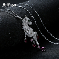 Artilady delicate unicorn necklace CZ stone pendant necklace 925 silver jewelry for women party gift dropshipping