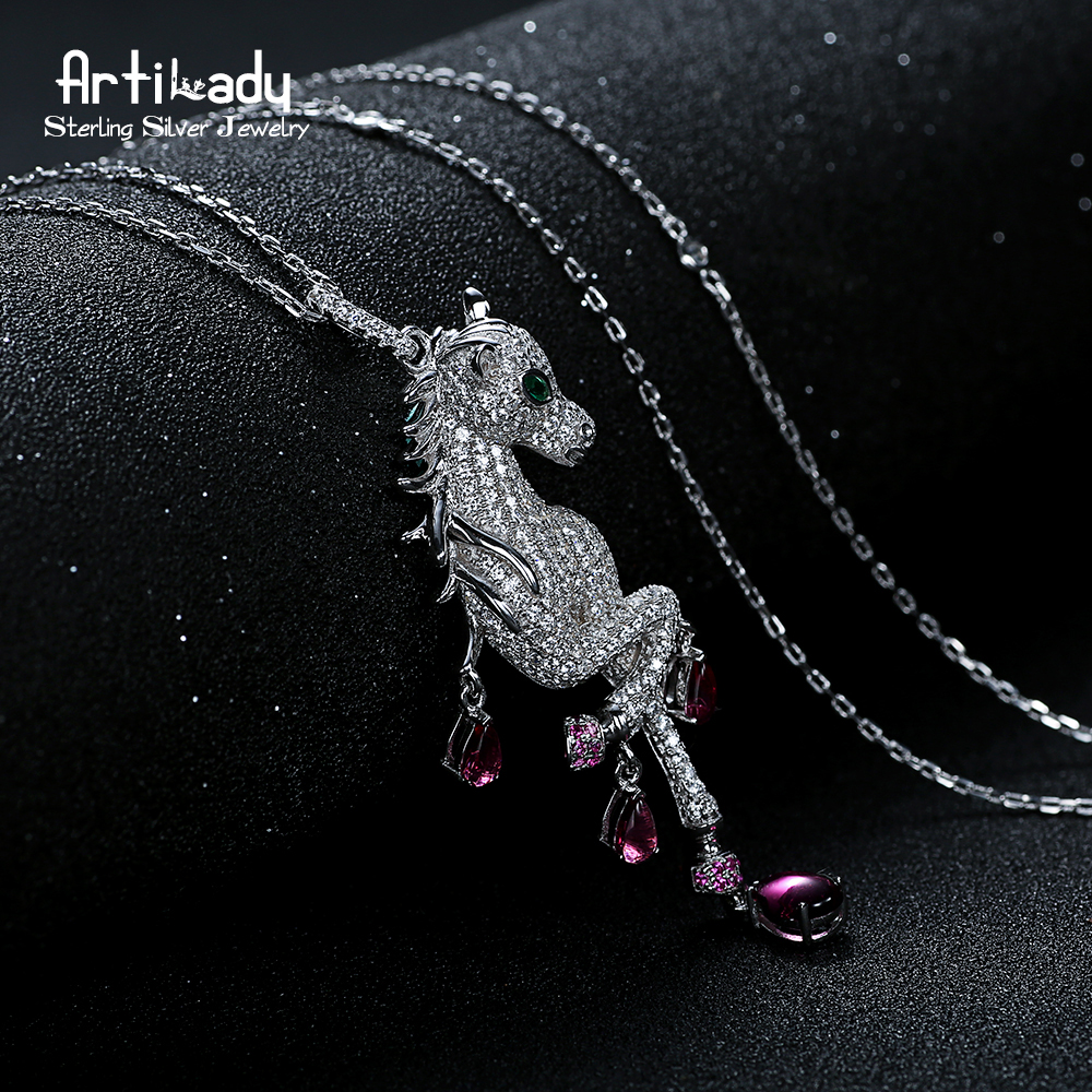 Artilady delicate unicorn necklace CZ stone pendant necklace 925 silver jewelry for women party gift dropshipping цена