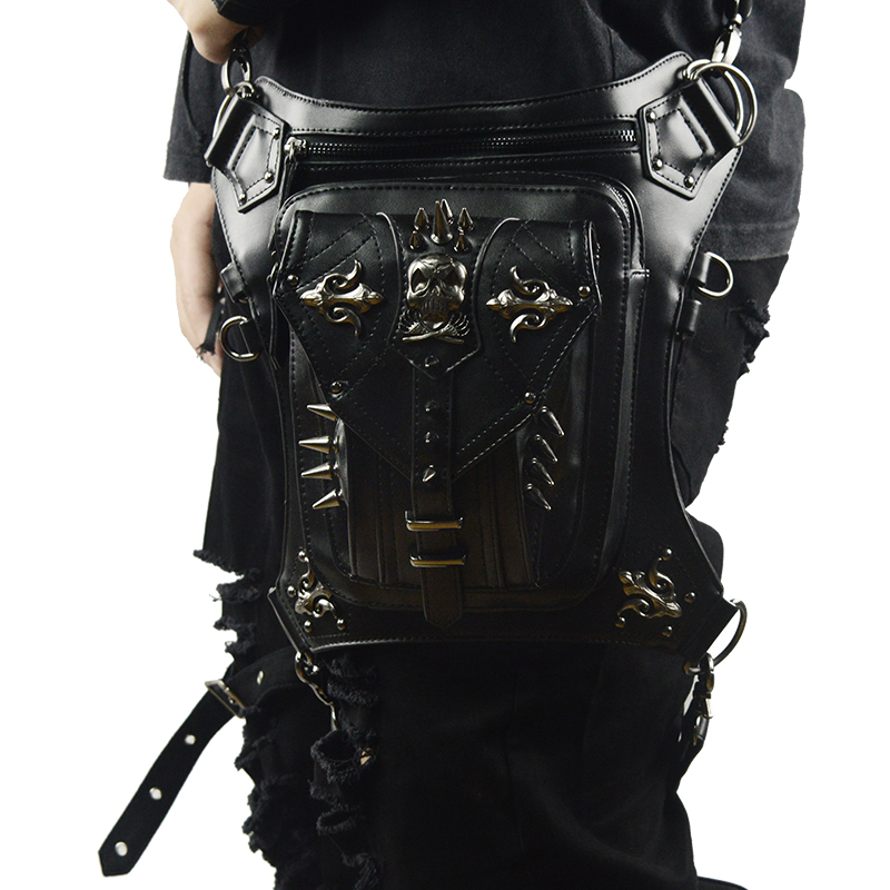 Gothic Skull Waist Bag Punk Retro Leather Rivets Leg Bag Messenger Bag Personalized Unisex Fanny Pack Phone Purse