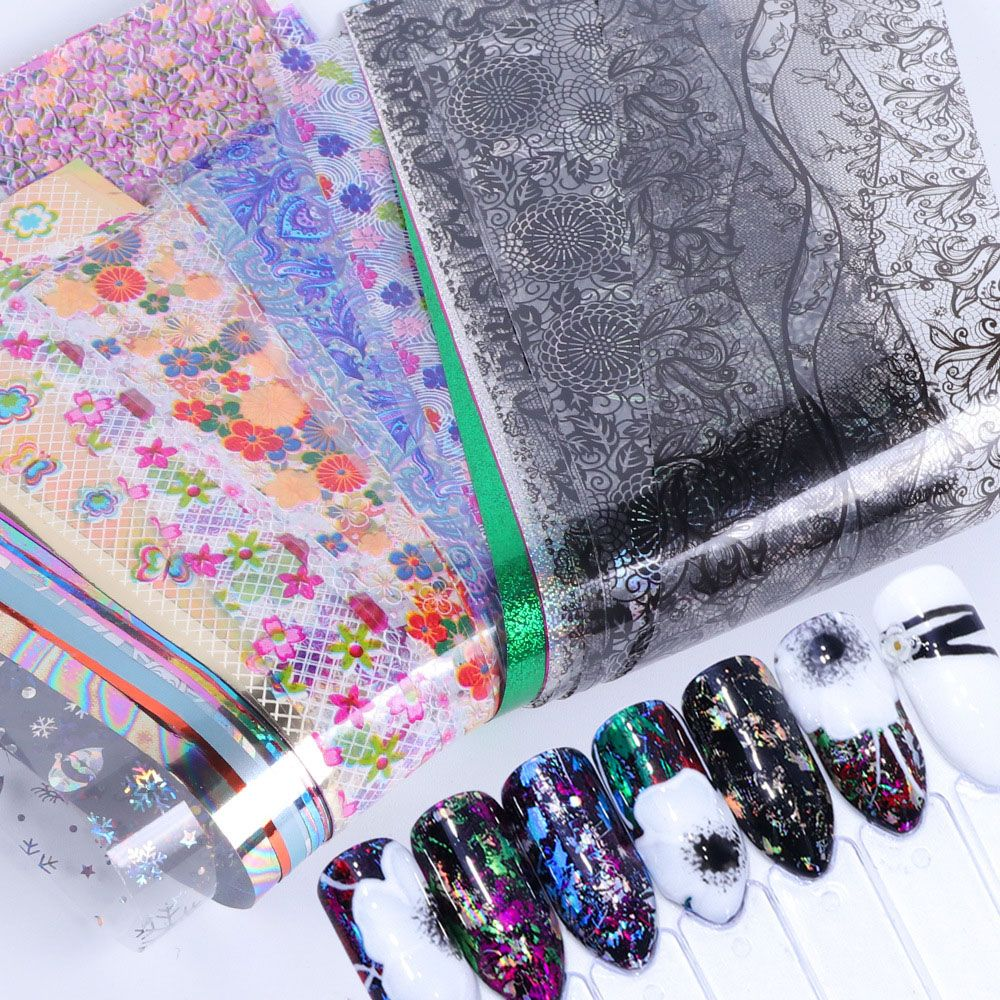 50Pcs/Set Holographic Nail Foil Flower Lace Mix Designs Nail Art Transfer Stickers Decals Nail Art Decorations|Stickers & Decals|   - AliExpress