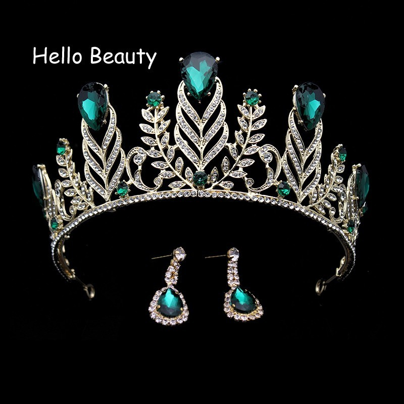 Large Vintage Green Rhinestone Feather Crown Wedding Quinceanera Crystal Leaf Prom Tiara Headband Bride Hair Accessories цена 2017