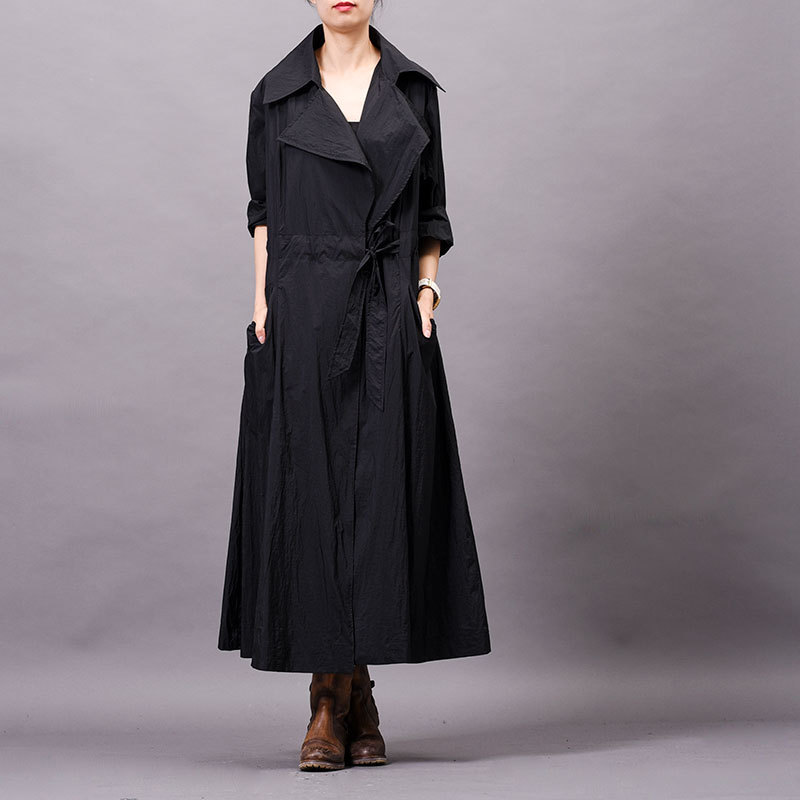 2019 Autumn Winter Original New Large Size Women's Lapel Collar Tie Coat High Quality Drawstring   Trench   Coat Women Raincoat