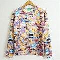 Primavera 2016 mulheres / homens Emoji lindo sorriso da cara impressão camisola de lã dentro Hoodies Casual Crewneck roupas Plus Size XS-6XL