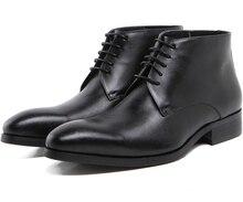 Мода черный/коричневый загар мужские ботинки неподдельной кожи мотоциклов сапоги мужчины офисных обувь на открытом воздухе осенью мужские бизнес обувь