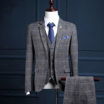 Comprar ahora Trajes de marca de lujo para hombre Slim Fit Inglaterra  estilo británico 2018 hombres b864dae4116