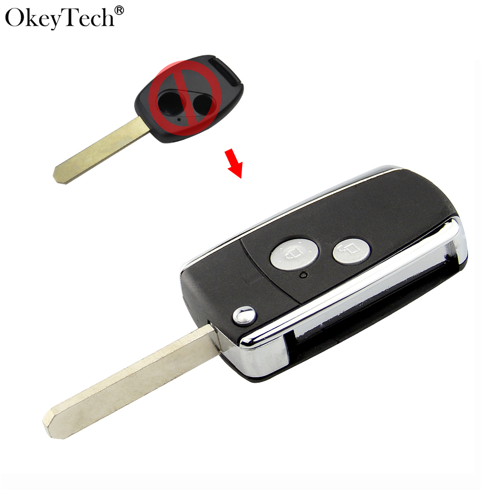 Okeytech Replacement Modified <font><b>Flip</b></font> Folding 2 Buttons <font><b>Remote</b></font> Key Shell Case Fob For <font><b>Honda</b></font> CIVIC CRV JAZZ <font><b>ACCORD</b></font> ODYSSEY image