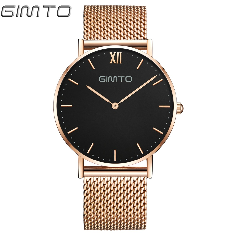 GIMTO Brand Luxury Rose Gold Women Watches Clock Dress Steel Bracelet Lovers Quartz Wristwatch Female Sport Watch Relogio Montre gimto big dial gold black skull women watches luxury brand steel male female clock vintage ladies lovers watch relogio feminino