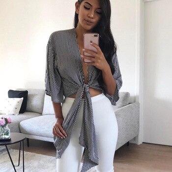 Women Kimono Loose Cardigan Shirt Cotton Black V Neck Striped Print Blouse With Bow 2017 Fashion Ladies Summer Blouses Plus Size