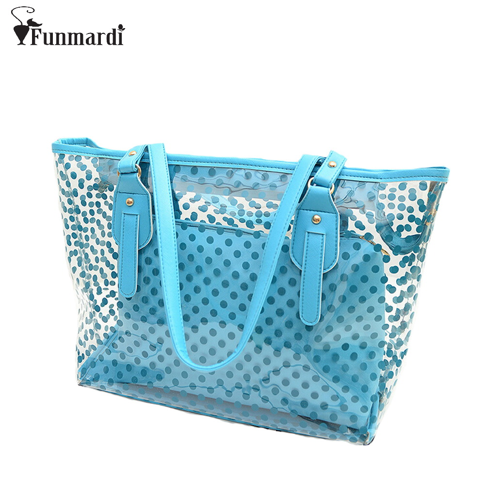 New arrival dot design transparent bag candy color beach Bag fashion PVC women handbag summer composite bags WLHB1100