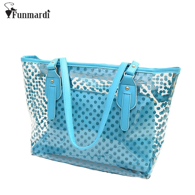 New arrival dot design transparent bag candy color beach Bag fashion PVC women handbag summer composite bags WLHB1100