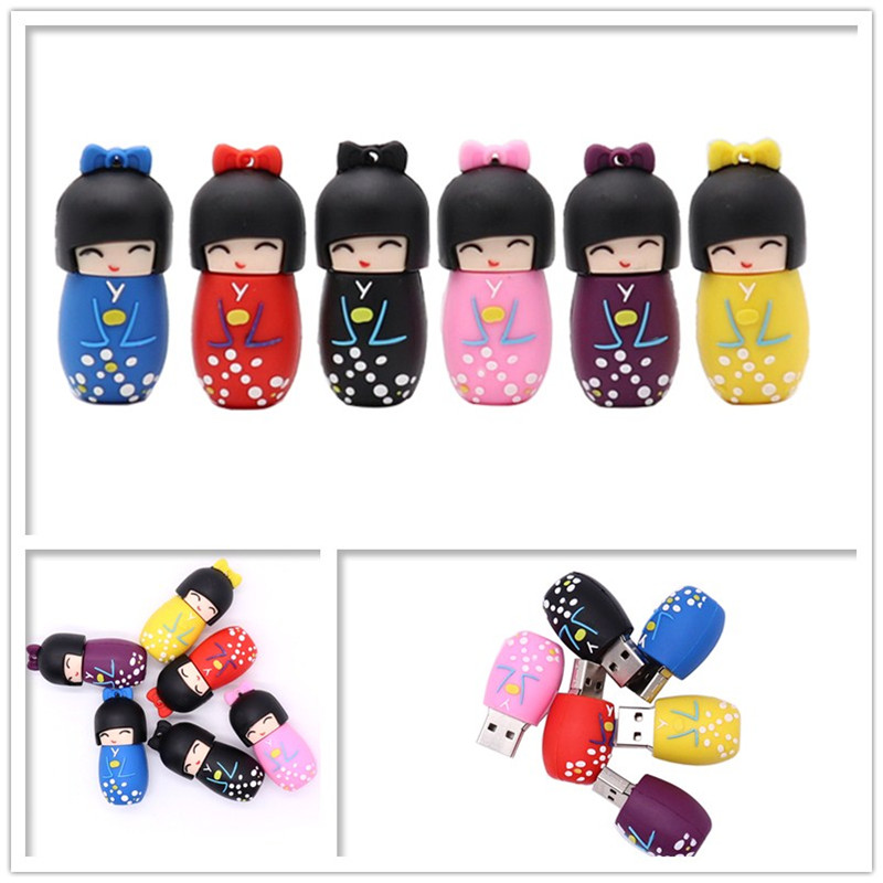 USB Flash Drive Cartoon Japanese Girl Pen Drive 4GB 8GB 16GB 32GB 64G Cute Tumbler Pendrive Memory Stick Creative Gift Usb Stick