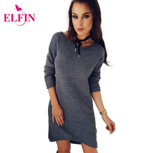 Autumn Winter Fashion Knitted Sweater Dresses O Neck Long Sleeve Straight Office Dress Female Vestidos WS3757R
