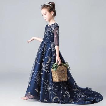 2018 Autumn New Children Girls Evening Party Before Short After Long Tail Tulle Dress Kids Teens Halloween Piano Costume Dress