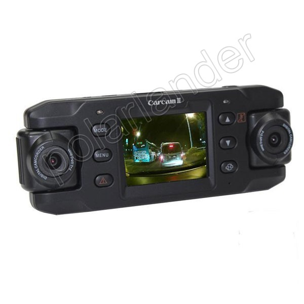 HD Car DVR GPS logger 2.3 inch G-sensor vehicle camera video recoder camcorder 140 degree wide angle dual lens