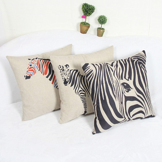 Seat Cushion Without Core Animal Decorative Home Decor Sofa Chair Throw Pillows Decorate Zebra Horse