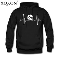 XQXON New Pullovers ThinHooded Men Volleyballer Beats Funny Design Electric Waves Heartbeat Print Hoodies Sweatshirt H41