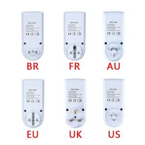 """Image 3 - אלקטרוני דיגיטלי טיימר מתג 24 שעה מחזורי האיחוד האירופי בבריטניה AU ארה""""ב FR BR תקע מטבח טיימר לתכנות לשקע עיתוי שקע 220V"""