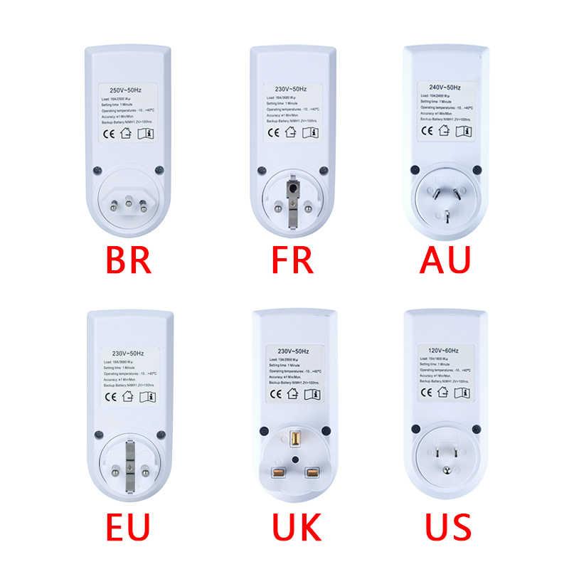 Interrupteur de minuterie numérique électronique 24 heures cyclique EU UK AU US FR BR prise de minuterie de cuisine prise de synchronisation Programmable 220V