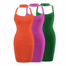 green purple orange halter bandage dress sexy brief womens summer party dresses short backless girl night club gown babatique