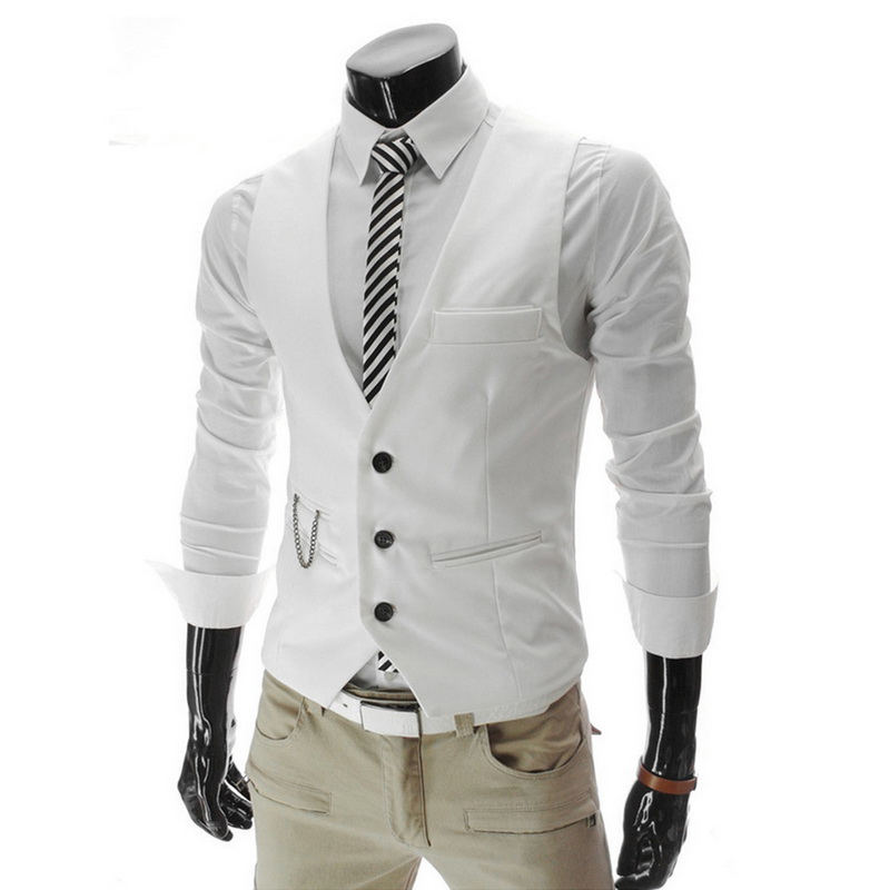 Vests Men Coats Dress Wedding-Party Casual Sleeveless Slim-Fit Business Formal Hot Homme