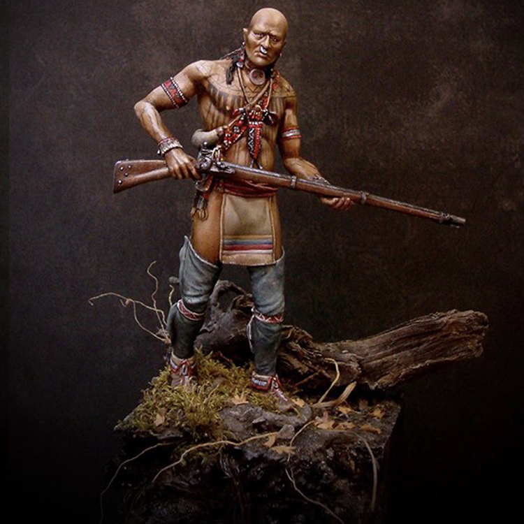 1/24 75MM Resin Model Figure Kit 18th CenturyvCherokee Warrior Unassembled And Unpainted Free Shipping R206G