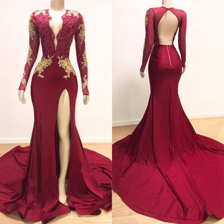Vintage Open Back Burgundy Mermaid   Prom     Dresses   With Slits Sexy Deep V Neck Applique Lace Long Sleeve Arabic Evening   Dress   2019