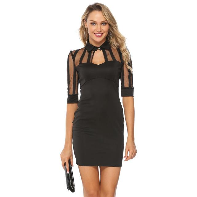 Keyhole neck black mesh short dress