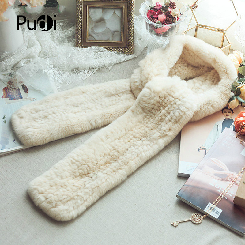 SCM057 Women's real rex rabbit fur   scarf   winter neck warm genuine fur   scarves     wraps   band new fur   scarf