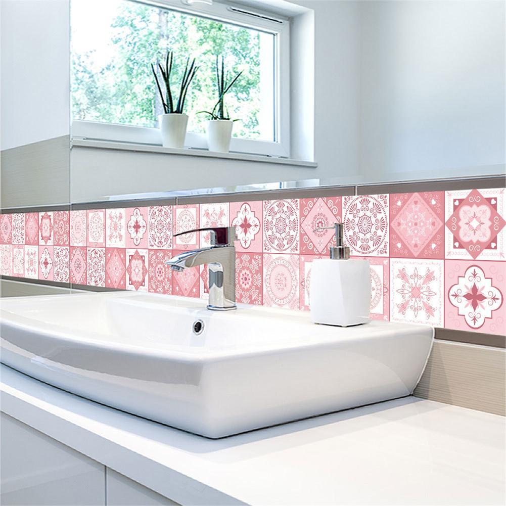 pink bathroom tile stickers