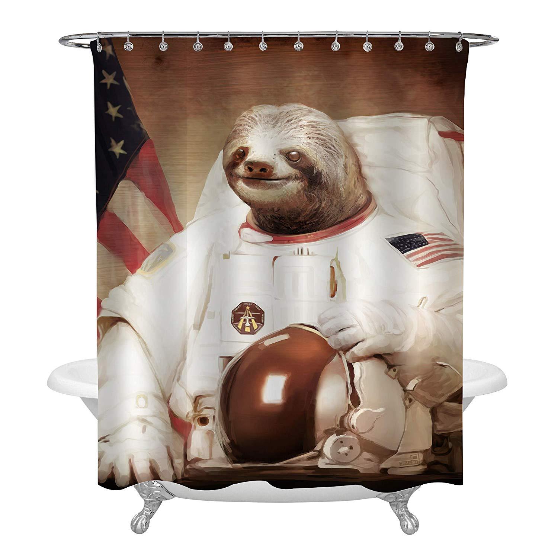 "American USA Flag Funny Sloth Astronaut Waterproof Fabric Shower Curtain Set 72/"""