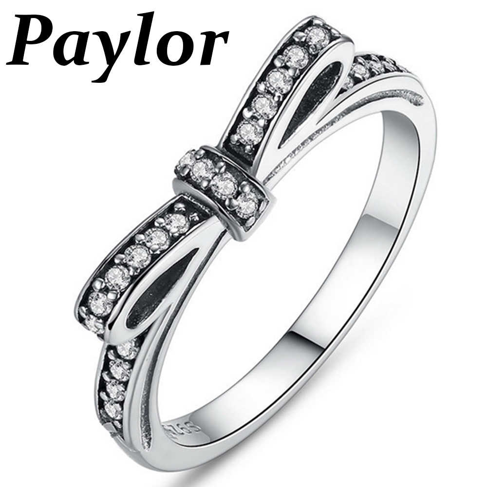 Hot Sell Silver Sparkling Bow Knot Stackable Brand Ring Micro Pave CZ Zircon for Women Valentine's Day Gift Wedding Jewelry
