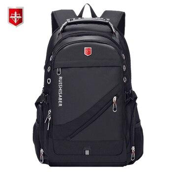 新しいオックスフォードスイスバックパックusb充電17インチのラップトップ男性防水旅行リュックサック女性ヴィンテージスクールバッグbagpack mochilaラップトップバッグ