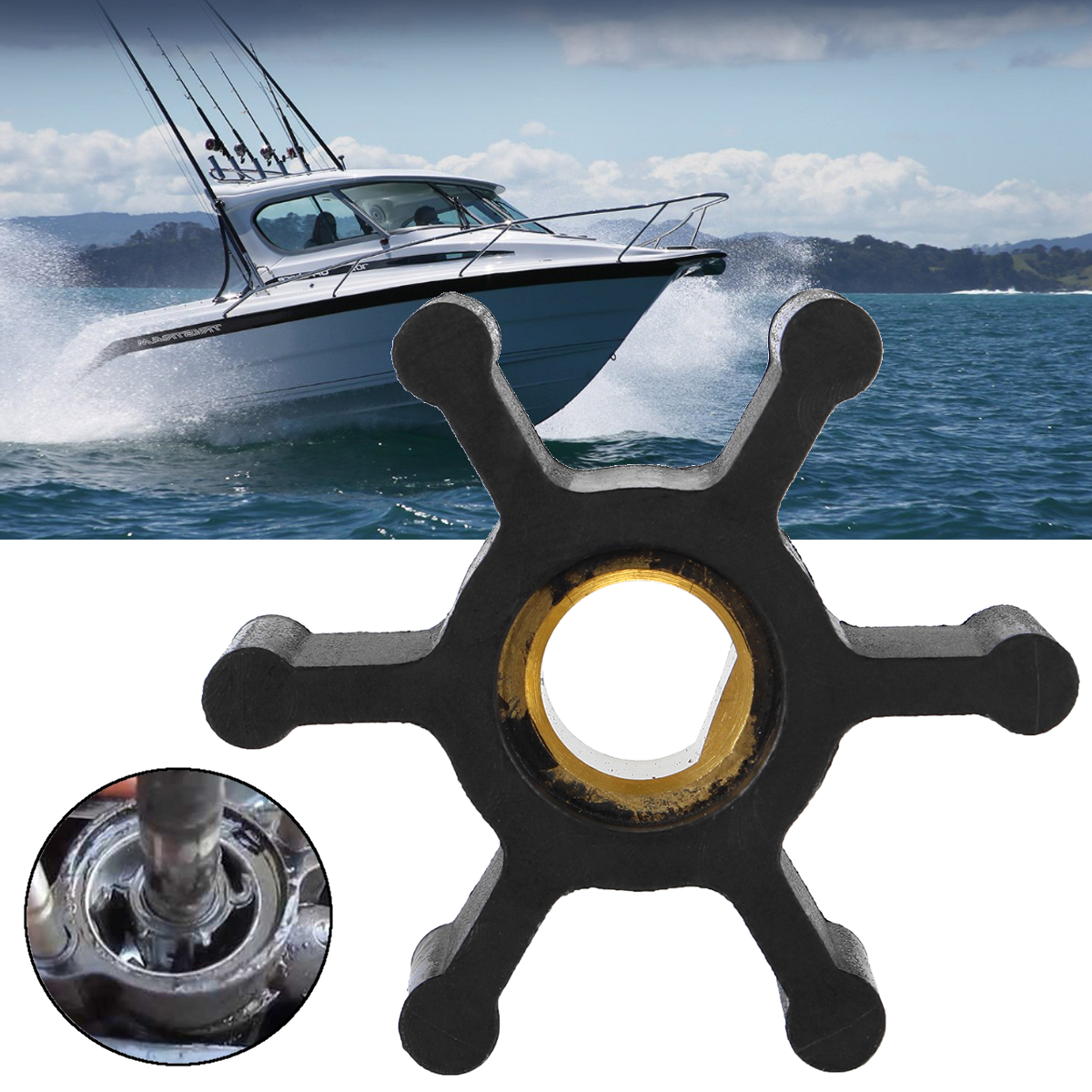 For FP0F360AC Flotec Outboard Motor RP0001077 & FP003414S-01 Water Pump Impeller for PC1 & PC2 66059-WYN1 Black 35mm Diameter