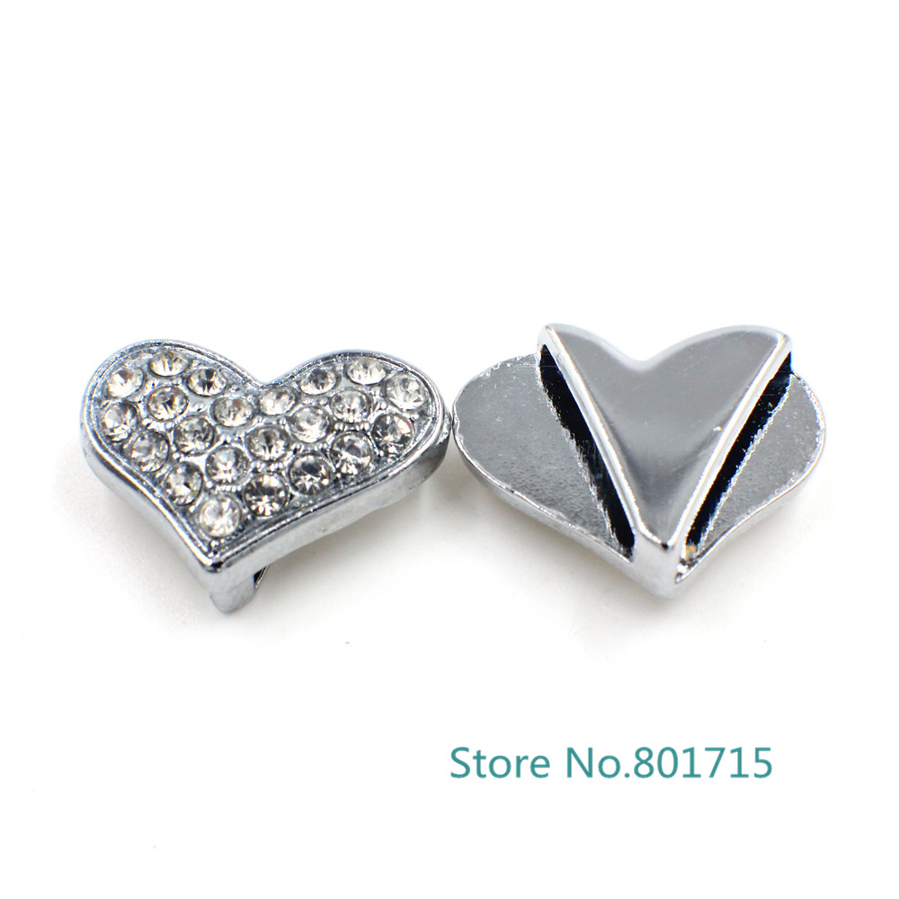 New Styles 10pcs 10mm rhinestone heart slide Charms DIY Accessories fit  wristbands key chain pet collar bracelet DIY belt-in Charms from Jewelry ... bea0f416cedd