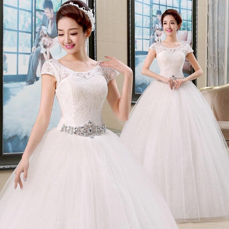 Fansmile Vestido De Noiva Vintage Lace Up Wedding Dresses 2019 Plus Size Bride Ball Wedding Gowns Under $100 FSM-016F