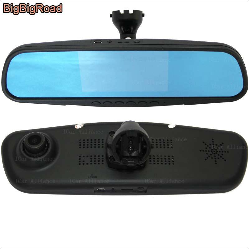 BigBigRoad Pour Jetta 2013 De Voiture Miroir DVR Caméra Bleu Écran À Double Lentille Enregistreur Vidéo Dash Cam avec Support D'origine