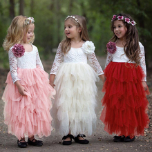 2019 Summer Kids Baby Girls Toddler  Dresses Long Sleeve Party Prom Costume Girl Lace Tutu Layered Dress Pageant Dancing Frocks