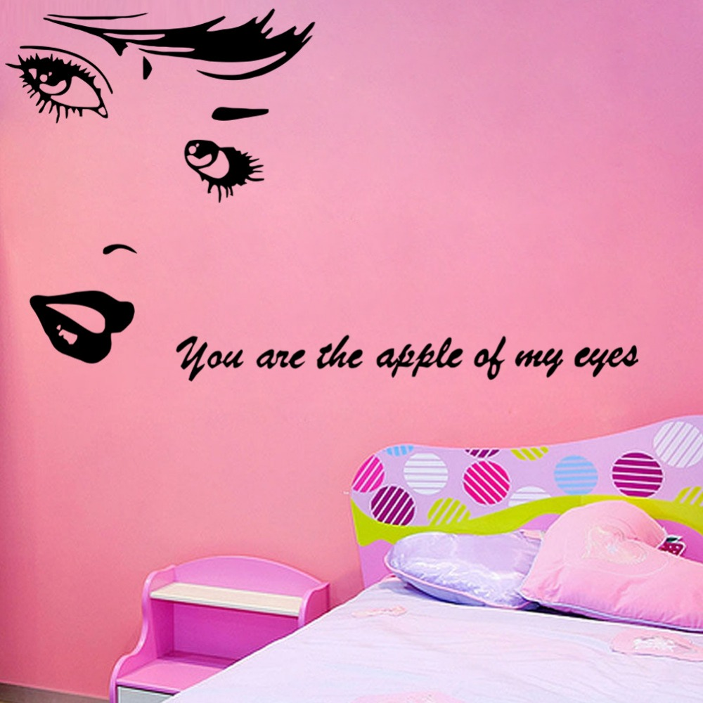 you are the apple of my eye beautiful girl wall stickers diy art mural living room bedroom girls room wall decoration - Wall Designs For Girls Room
