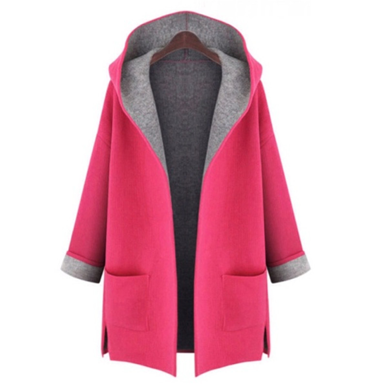 2016-Autumn-Winter-Female-trench-coat-Fashion-Dust-Pocket-Coat-Woman-pink-loose-long-hooded-cardigan