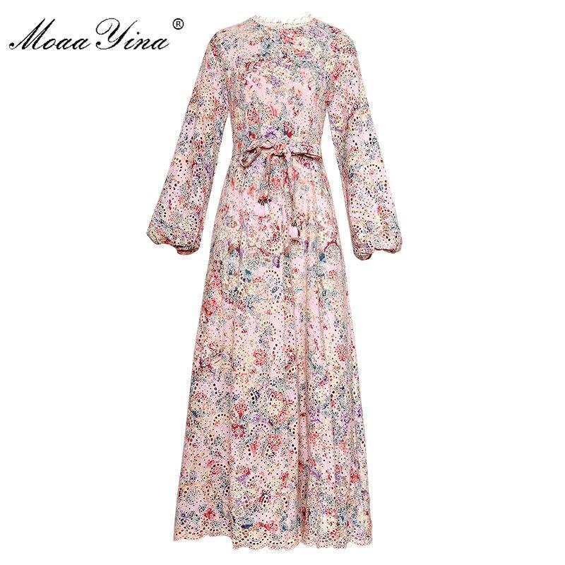 Kadın Giyim'ten Elbiseler'de MoaaYina Moda Tasarımcısı Pist elbise İlkbahar Sonbahar Kadın Elbise Fener Kollu Hollow Out Nakış Dantel up Tatil Elbiseler'da  Grup 1
