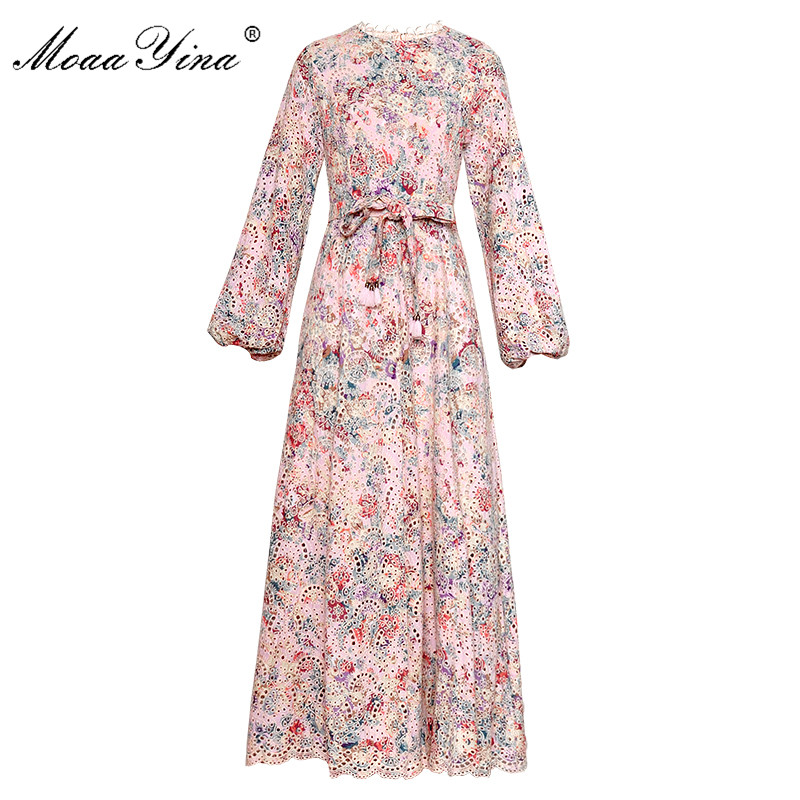 Moaayina 패션 디자이너 런웨이 드레스 봄 가을 여성 드레스 랜턴 슬리브 중공 자수 레이스 업 휴가 드레스-에서드레스부터 여성 의류 의  그룹 1