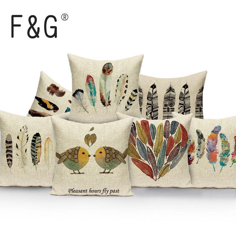 Us 2 98 38 Off Feather Pillow Case Birds Cover Colorful Decorative Lovely Throw Pillows Print Cushions For Sofa Custom Cushion In