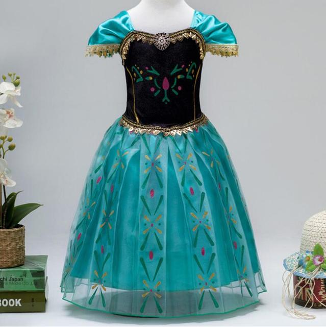 Us 1265 2017 Snow Queen Vestido Dress Elsa Per Le Ragazze Bambini Febbre Anna Elsa Cosplay Principessa Dress Per Bambina Halloween Party Cosplay