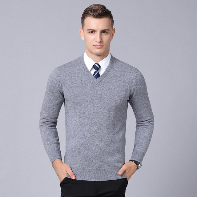 c9307ffd0f1 MACROSEA Classic Style Solid Color 100% Wool Men s Business Casual Pullover  Spring Autumn Men s Knitwear Wool