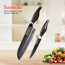 SUNNECKO 2PCS Chef Knife Kitchen Knives Set Santoku Utility Japanese Damascus Steel 60HRC Razor Sharp Pakka Wood Handle