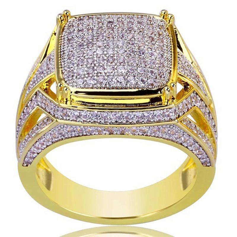 2a6132a91851 AAA Cubic Zirconia Ice Out Bling Oro Grande grande Hip Hop Rock anillos oro  Color geométrico hombres Hiphop rapero CZ anillo joyería regalo