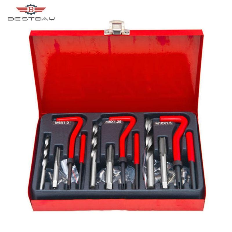 88pc Thread Repair Helicoil Re-Thread Tool Kit M6 M8 M10 Inserts Drill Tap Set Damaged Threads Garage Tool