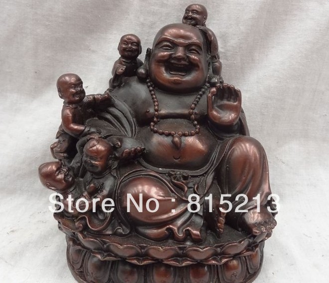 bi00114 Chinese Red Bronze JiXiang 5 Kid Child Maitreya Buddha Statue Happy Laugh Buddha